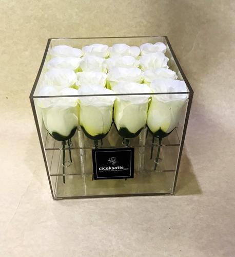 Şeffaf Kutuda Yapay Beyaz Güller